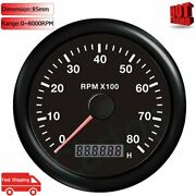 85mm 8000rpm Tachometer With Lcd Display Hour Meter Engine Working For Car Boat
