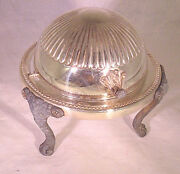 Vintage F.b. Rogers Silver On Copper Butter Dish Footed Bowl W/roll Top Lid