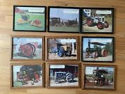 9 Framed Pictures Of Vintage Antique Steam Engines And Tractors Calendar Prints