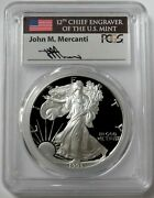1993 P Silver American Eagle 1 Proof 1 Oz Mercanti Signed Coin Pcgs Pr 70 Dcam
