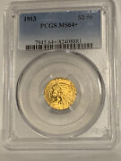 1913 2.50 Gold Indian Head Ms 64+ Pcgs