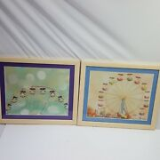 Happee Monkee Prints Small Framed Matted Ferris Wheels 2 Piece Collectible Art