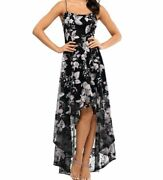 430 Xscape Womenand039s Black Floral Embroidered High/low A-line Gown Dress Size 6