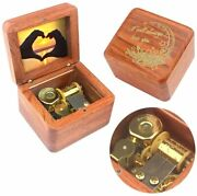 Natural Wooden Music Box With Customizable Photos Wind Up Musical Box Gifts
