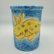 Vintage Amana Italy Easter Bunny Utensil Vase Hand Painted Pottery Ceramic