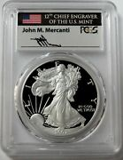 2007 W Silver American Eagle 1 Proof 1 Oz Mercanti Signed Coin Pcgs Pr 70 Dcam