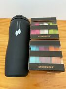 Starbucks Japan 2013 Black Collectables 12oz Tumbler And 6 Lids New