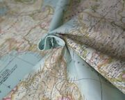 World Map 2 Globe Atlas Furnishing Fabric Cotton Material 55and039and039 Wide Sky Blue