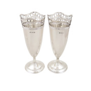 Pair Of Antique V8 Sterling Silver Pierced Top Vases - 1911
