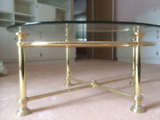 Oval Glass Coffee Table Vintage Gold Coloured