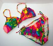 Vtg 1960's Psychedelic Tie Dye Bikini Swimsuit Handmade By Wedgewood No Size Tag