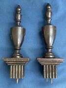2 Vintage Antique Wood Finials With Bases 8 3/4 Tall Furniture Salvage