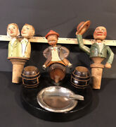 Anri Wood Carved Ashtray Match Holder And 2 Bottle Stoppers