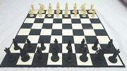Chess Set, 1950's 60's Vintage, Medieval Style Weighted Pieces W/ Board, 3 King