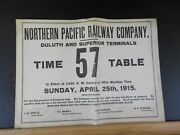 Northern Pacific Ry Co Duluth And Superior Terminals Employee Timetable 57 1915