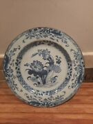 Chinese Handpainted Blue And White Porcelain Plate Antique Floral Collectable