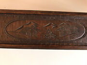 Carved Tambour Roll Top Wooden Pencil Box Vgc Swiss Chalet Tree Detail Exquisite