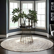 Farmhouse Area Rug Round Natural Carpet Living Room Handmade Braided Jute 4and039 New