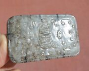 19c Chinese Sesame Jade Nephrite Carved Carving Plaque Calligraphy Belt Buckle