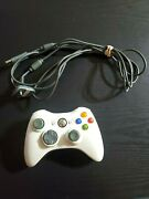 White Wireless Microsoft Xbox 360 Controller Includes Charging Cable - X801769