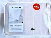 New Lacoste King Sheet Set 100 Cotton Percale - Iced Pink Bedding Pillowcases