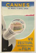 Poster Original By Piva Cannes Film Festival Lithograph 38.25 X 24 In.1954