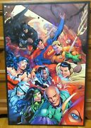 Justice League Dc Comic Huge Print On Canvas Painting 23 X 35