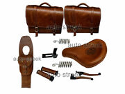 Royal Enfield Classic 500 350 Front Leather Seats With Bags, Belt, Grip, Lever