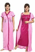 Women Ruby Pink Color Satin Nighty Robe Top Night Dress 2 Set Stylish Look