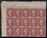 Sg 43 Great Britain 1864-79. One Penny Red Plate 149 Block Of 18 From The Top...