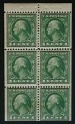 Us Scott 405b Perf 12 Green Washington Booklet Pane 6 1andcent Stamps Mint Nh