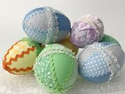 """7 Vintage Large Quilted Plastic Easter Eggs Decoupaged Shabby Chic 4"""""""