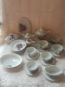 1900 Early Childs 27 Piece Tea Set Flower Motif Red Letter Made In Japan