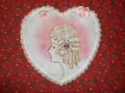 Antique Vintage Hand Embroidered French Boudoir Pillow Sham, Lace Heart Shape