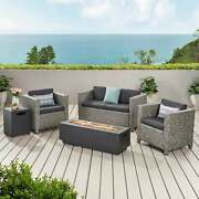 4 Seat Wicker Outdoor Furniture Set With Fire Pit Cushions By Christoph Knight