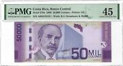 Costa Rica 50,000 Colones 2009, P-279a, Pmg 45 Choice Extremely Fine, Rare Type