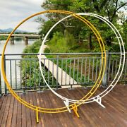 Round Double Rod Wedding Arch Circle Backdrop Wreath Hoop Centerpiece Stand Lawn