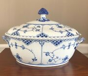 Royal Copenhagen Blue Fluted - Full Lace Oval Casserole Soup Tureen And Lid