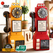 1950and039s Slot Pay Phone Model Vintage Booth Telephone Figurine Rotary Antique