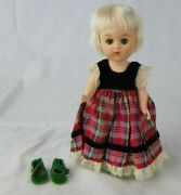 Vtg 1963-65 Vogue Ginny Doll In A Tagged 50s Plaid Dress W/ Extra Green Shoes
