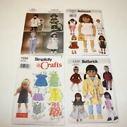 Lot 4x 18 Doll Buttericks / Simplicity Vogue Sewing Pattern Fits American Girl