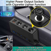 Automobile Cigarette Lighter Adapter 180w With 4x Usb Port For Gps Dashcam