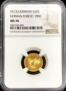 2013 J Gold Germany 20 Euro German Forest Pine Trees Coin Ngc Mint State 70