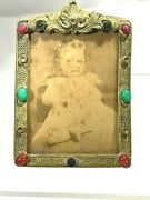 Art Deco Czech Jeweled Cabochons Gold Floral Embossed Photo Frame