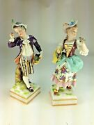 Antique Dresden Germany Porcelian Figurines Of Boy And Girl Flower Sellers