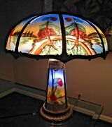 Antique Reverse Painted Eight Panel Lamp W/ Lighted Base Pairpoint/miller