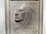 Native American Indian Antique Bas Relief Plaster Pottery Sculpture Wall Plaque