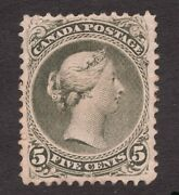 26 - Canada - 1868 - 5 Cent - Mnh Rg - Large Queen - F/vf- Superfleas