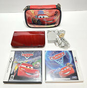 New Nintendo 3ds Xl Red-001 Handheld Console + Disney Cars Games Charger And Case