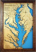 Chesapeake Bay In Maryland And Virginia - Laser Cut Wood Map